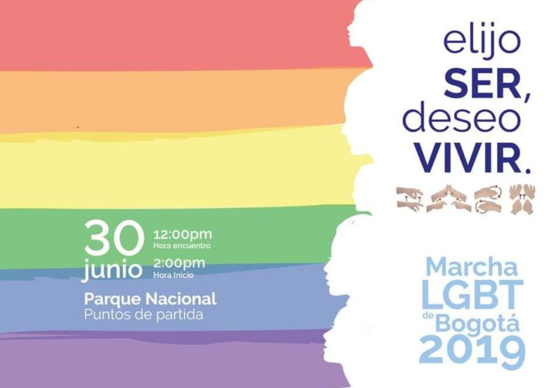 Marcha Orgullo LGBT Bogota, 30 de Junio, Hora 2 PM, Parque Nacional